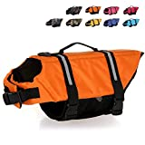 HAOCOO Dog Life Jacket Vest Saver Safety Swimsuit Preserver with Reflective Stripes/Adjustable Belt Dogs?Orange,XXL