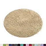 MAYSHINE 3ft Diameter Round Non-Slip Dog Bed mats Chenille Soft Microfiber Living Room Bedroom Area Rug - Green