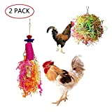 Vehomy Chicken Toys for Hen with Natural Colorful Loofah Shredder Toys Handmade Bird Chewing Foraging Shredding Hanging Toys for Medium Parrots 2pcs