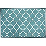 RUGGABLE Washable Stain Resistant Indoor/Outdoor, Kids, Pets, and Dog Friendly Accent Rug 3'x5' Moroccan Trellis Teal
