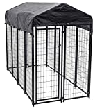 Lucky Dog 60548 8' x 4' x 6' Welded Wire Outdoor Dog Kennel with Heavy Duty Cover, Black