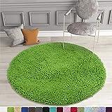 MAYSHINE 3 Feet Diameter Round Non-Slip Dog Bed Mats Chenille Soft Microfiber Living Room Bedroom Area Rug - Green