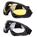DODOING Ski Goggles, 2-Pack Snowboard Goggles with UV 400 Protection Windproof and Dustproof for Skate Motorcycle Bicycle Glasses for Kids, Boys & Girls, Youth, Men & Women