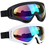 ELECOOL Ski Goggles 2 Packs, Multicolor Lenses Snow Goggles with Wind Dust UV 400 Protection for Women Men Kids Girs Boys Winter Snowboard lSnowmobile Skiing(Black/White)