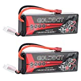 LiPo Battery 5200mAh 2S 50C 7.4V GOLDBAT RC Battery Hard Case with Deans Plug for RC Evader BX Car Losi Buggy Team Associated Truck Truggy (2 Packs)