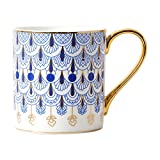 CHOOLD British Style Blue Floral Porcelain Coffee Mug with Golden Handle Spoon - 12oz
