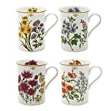 Grace Teaware Bone China Coffee Tea Mugs 9-Ounce, Assorted Set of 4 (4 Assorted Botanicals)