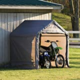 helterLogic6' x 6' x 6'' Shed-in-a-Box All Season Steel Metal Peak Roof Outdoor Storage Shed with Waterproof Cover and Heavy Duty Reusable Auger Anchors