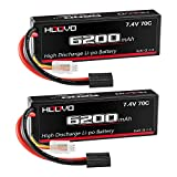 HOOVO 7.4V 70C 6200mAh 2S Lipo Battery Hard Case with Tracxas Plug for RC Car RC Helicopter RC Truck RC Truggy Airplane Quadcopter UAV Drone FPV (2 Packs)