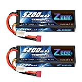 Zeee 7.4V Lipo Battery 2S 50C 5200mAh Lipos Hard Case with Dean-Style T Connector for RC Car Trucks 1/8 1/10 RC Vehicles(2 Packs)