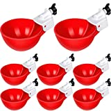 8 Pieces Chicken Watering Cups Automatic Filling Waterer Poultry Drinking Bowl 1/8 Inch Thread Watering Feeder Cups for Chickens Ducks Geese Turkeys and More (Red)