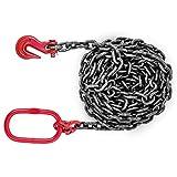 OrangeA 10FT Chain Sling 3/8' x 10' Single Leg with Grab Hooks Sling Chain 3.3T Capacity Grade 80 (3/8' x 10')