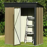 5x3 FT Outdoor Storage Shed, Galvanized Steel Tool Shed House for Patio Garden Backyard Lawn, Utility Tool House with Door, Dark Grey