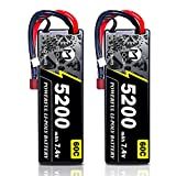 Lipo Battery, MOOCK 2S 7.4V 60C 5200mAh RC Lipo Hard Case with Dean-Style T Connector for RC Car Trucks Boat Helicopter Airplane 1/8 1/10 RC Vehicle(2 Pack)