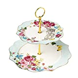 Linlins Elegant Bone China Rose Pattern 2-tier Cake Stand/ Cupcake Stand/ Pastry Serving Cake Stand In Gift Box