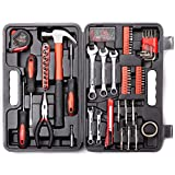 Cartman 148Piece Tool Set General Household Hand Tool Kit with Plastic Toolbox Storage Case, Socket and Socket Wrench Sets