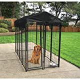 Lucky Dog - Heavy Duty Welded Wire Dog Kennel with Cover and Frame, 6'H x 4'W x 8'L