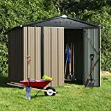 8' x 6' Storage House for Backyard, Steel Storage Sheds Outdoor Waterproof Gable Roof with Padlock Door, for Patio Furniture Garden Lawn Tool