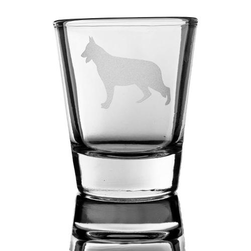 german shepherd silhouette shot glass